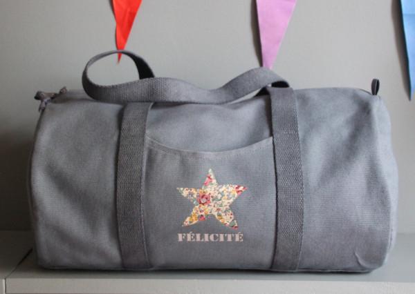 Sac Bowling personnalisable -  1 étoile Liberty +1 prénom flex «typo Stencil»