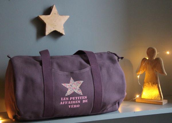 Sac Bowling personnalisable -  1 étoile Liberty +1 long texte «typo Stencil»