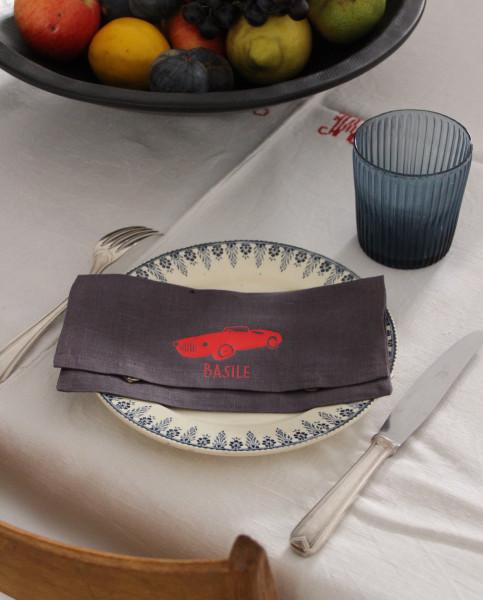 Pochette de serviette de table - 1 prénom flex écriture «Lemon» unie + 1 motif