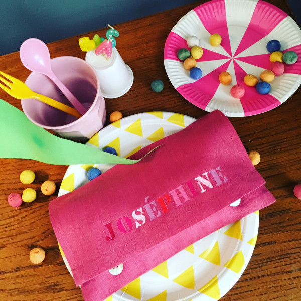Pochette de serviette de table 1 perso peinture lin cie - Pochette serviette de table ...
